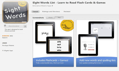 sight words app shot