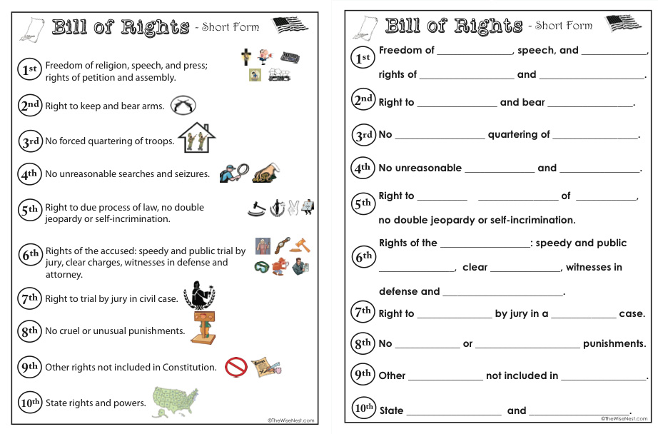 picture regarding Printable Bill of Rights known as Invoice of Legal rights - The Intelligent Nest